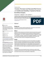 Prenatal Perinatal and Neonatal Risk Factors for I
