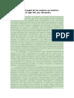 La Situación y El Papel de Las Mujeres en América Latina Durante El Siglo XIX