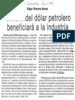 Edgard Romero Nava Cambio Del Dolar Petrolero Beneficiara Industria - El Diario de Caracas 07.07.1987