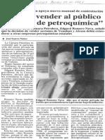 Edgard Romero Nava Deben Vender Al Publico Acciones de Petroquimica - Diario de Caracas 13.10.1987