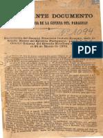 Declaraciones Del. Gral. Isidoro Resquin a Los Aliados El 20 de Marzo de 1870