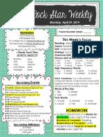 egan april 29 lesson 25 unit 8 newsletter