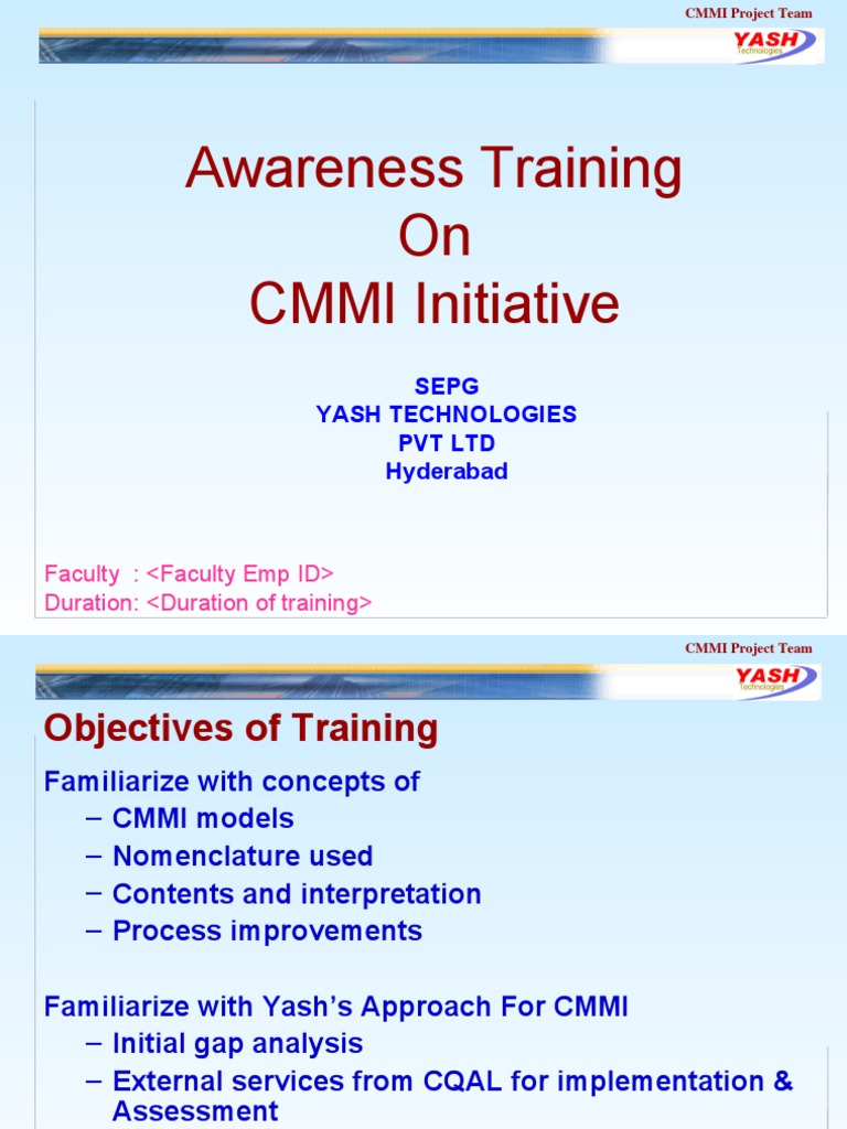 Cmmi Awareness Training Quality Management Systems Engineering