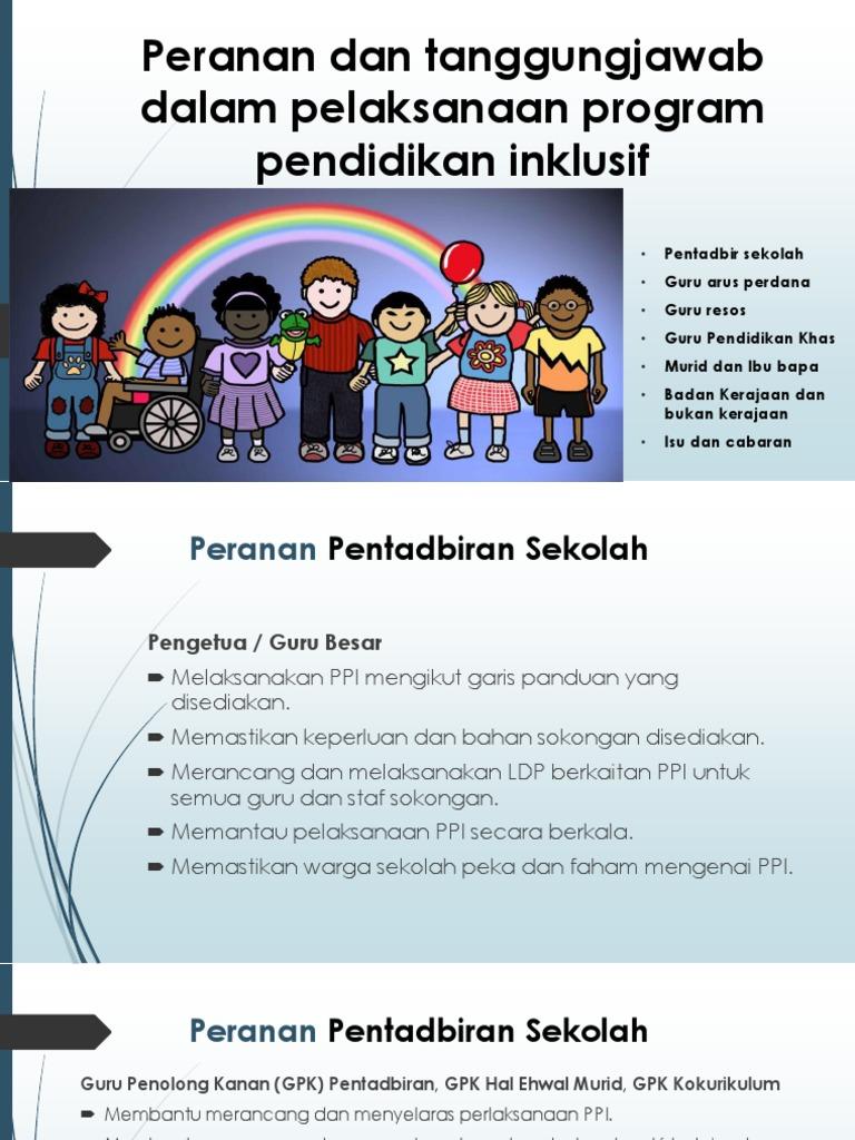 Peranan Dan Tanggungjawab Dalam Pelaksanaan Program Pendidikan Inklusif
