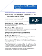 Allowable Foundation Settlement for Different Structures
