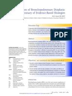 Prevention of Bronchopulmonary Dysplasia a Summary of Evidence Based Strategies