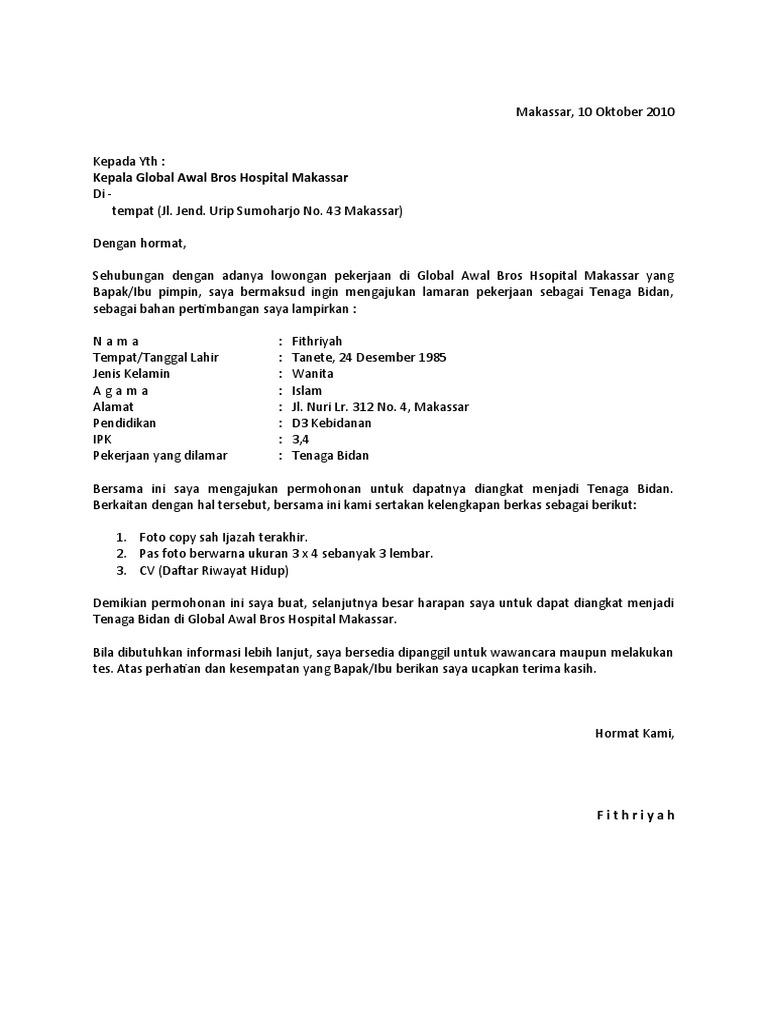 Contoh Surat Lamaran Ke Rumah Sakit