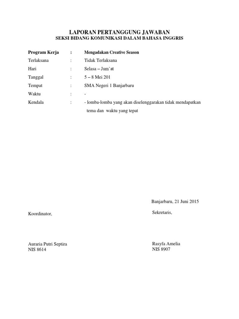 Laporan Pertanggung Jawaban Seksi Bidang Komunikasi Dalam Bahasa Inggris