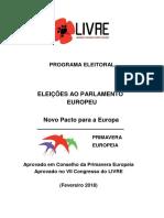 LIVRE - Programa Eleitoral Europeias 2019