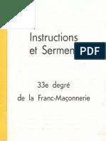 Adrien Arcand - Instructions Et Serment 33e Degré de La Franc-Maçonnerie