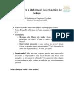 normas para a elaboração de relatórios