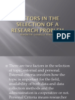 Factors in the Selection of a Research Problem