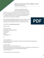 Newfoundland and Labrador School Curriculum Religion and Sex Education - Letter to Premier Paul Davis