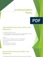 Appreciating Arabian Poetry