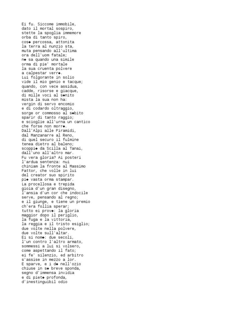 Poesia Manzoni 5 Maggio
