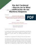 Homilía Misa de Beatificación de Los Mártires Riojanos