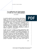 Les applications de l'informatique à l'étude des textes philosophiques