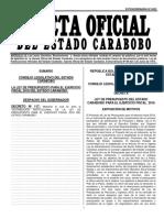 Ley de Presupuesto de Caraboobo 2018 GACETA Nro 6522