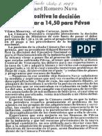 Edgard Romero Nava Es Positiva Decision Sobre Dolar a 14.50 Para PDVSA - El Siglo 01.07.1987