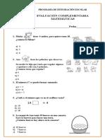 Evaluación  Matematicas