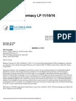 Warning Letter 2016 _ Stonegate Pharmacy Lp 11-10-16