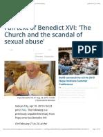Full text of Benedict XVI