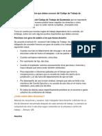 10 Artículos Importantes Que Debes Conocer Del Código de Trabajo de Guatemala