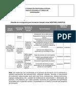 Plantilla de Cronograma Para Formacion Titulada Virtual