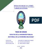 Efectos de La Inversion Publica Sectorial en La Economia Boliviana