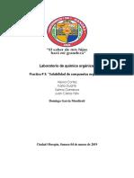 """Practica LAB Organica 3 """"Solubilidad de compuestos organicos"""""""