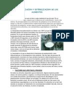 Pasteurizacion y Esterilizacion de Los Alimentos