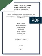 Como se relacionan las teorías de la comunicación en el ámbito deportivo (Atletismo, Básquet, Fútbol, Natación) en el Ecuador