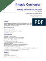 Anthony Josué Ramírez Zambrano. Sintesis Curricular