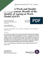 Bienestar en El Trabajo y Calidad Del Empleo Resultados Del Modelo Quality of Ageing at Work QAW