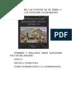 Informe Sobre Los Cuentos de Mi Tierra y Apuntes Para El Folklore Cajamarquino