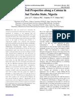Variation in Soil Properties along a Catena in kwambai Taraba State, Nigeria