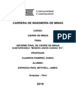Informe de Cierre de Minas Subterranea - Minera Huinac - Espinoza Rios Mitchell