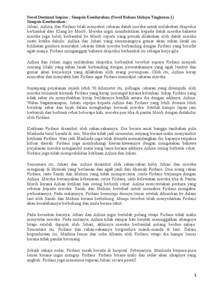 Novel Destinasi Impian Sinopsis Keseluruhan Novel Bahasa Melayu Tingkatan 1 Sinopsis Keseluruhan