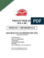 Malaysia - September Price List