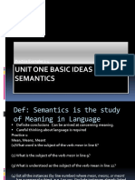 Semantics - Unit One Basic Ideas in Semantics