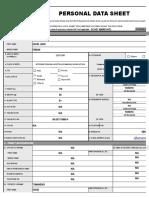 CS Form No. 212 Revised Personal Data Sheet