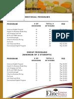 2018 Corporate Training Prices