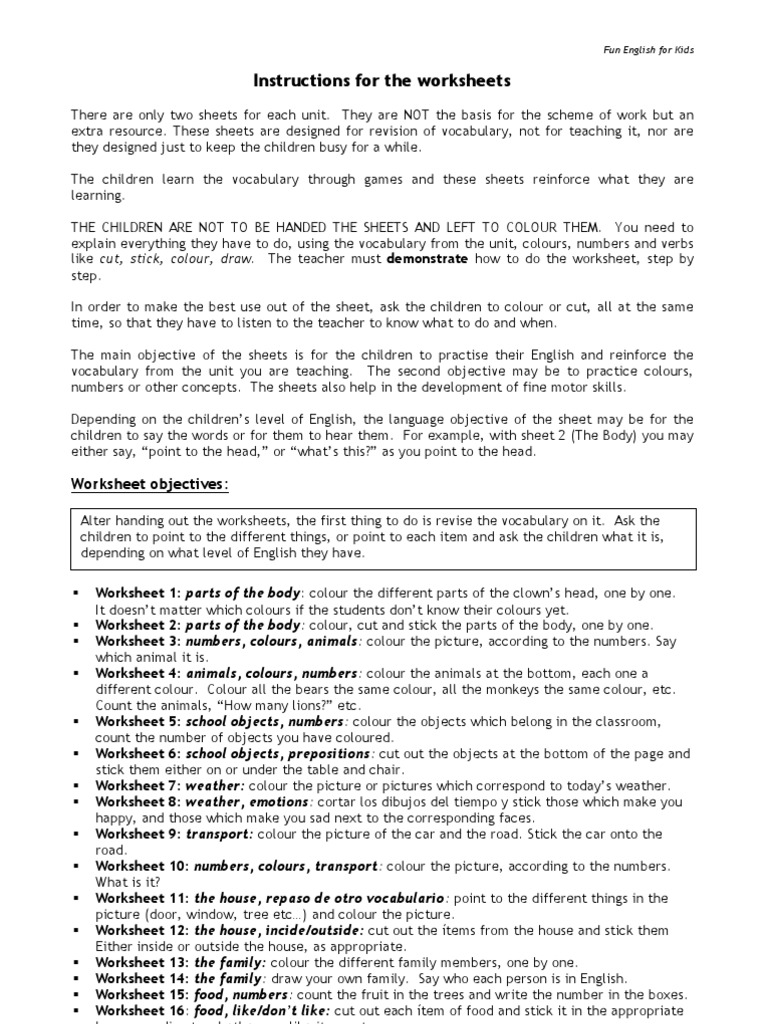 Fun English Worksheets | English Language | Vocabulary