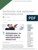 Asegurando Su Futuro Con El Mantenimiento Proactivo – Congreso de Mantenimiento & Confiabilidad México