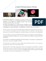 Facebook Planea Integrar WhatsApp e Instagram Asi Como Messeger