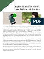 El Nuevo Bloqueo de Notas de Voz en WhatsApp Para Android Así Funciona