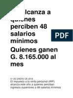RP Alcanza a Quienes Perciben 48 Salarios Mínimos