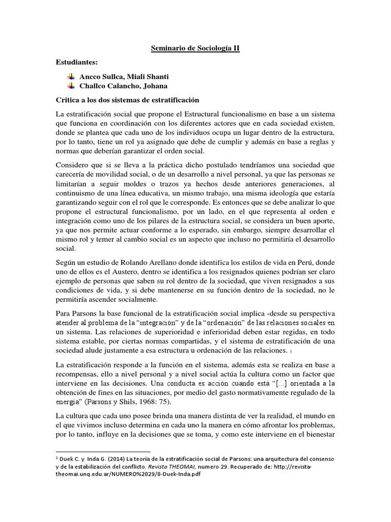 Seminario De Sociología Ii Estratificación Social Clase