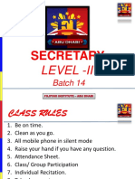 Secretarial Level 2 - Batch 14 - Session 2 & 3