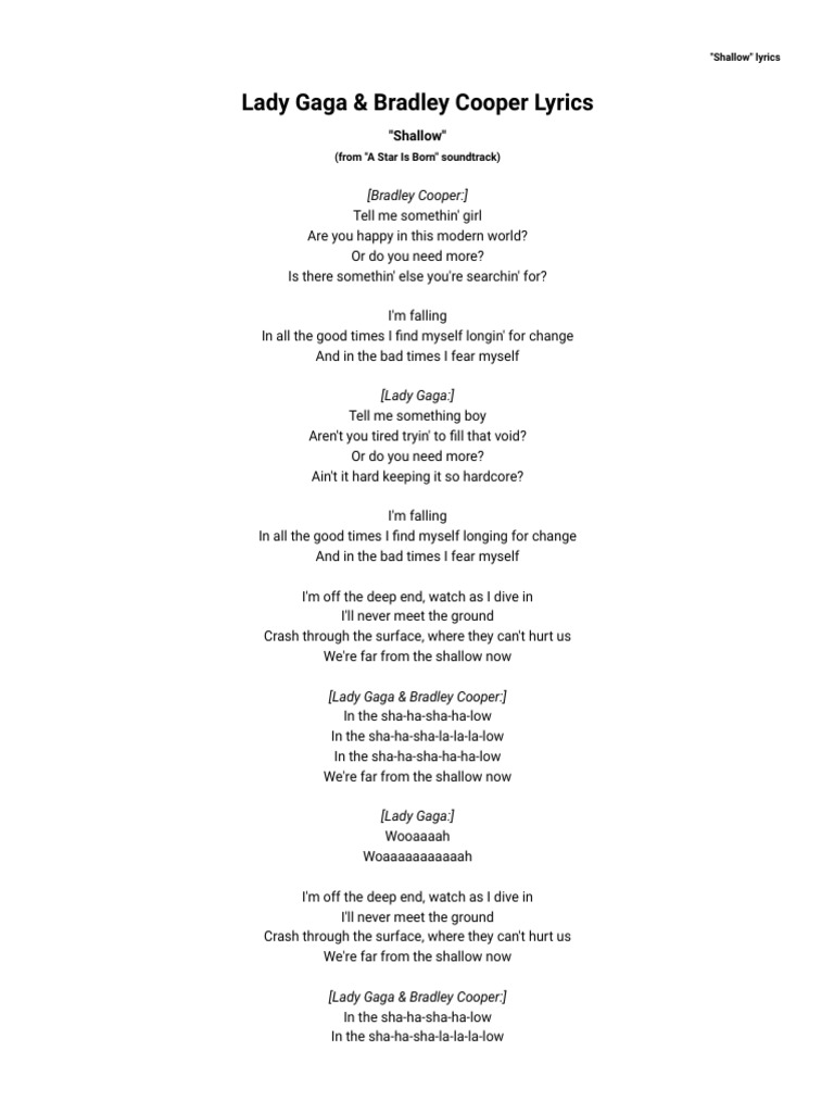 Lady Gaga Bradley Cooper Shallow Lyrics Azlyrics